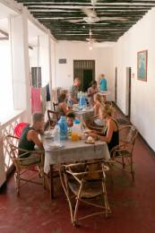Volunteers having breakfast in Zanzibar Tanzania
